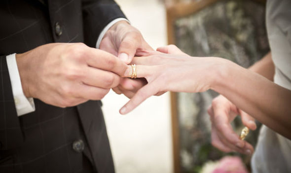 Wedding rings in the left hand